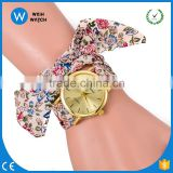 PW050 Hot Fashion Women Geneva Watch Tribal Floral Cloth Quartz Dial Wristwatch Girl Bow Cloth Strap Nationality Watches