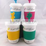 green pink yellow blue mug with cute hand ceramic mug/mug with silicone sleeve/travel mug porcelain tumbler