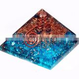Blue Onyx Orgone Pyramid with Crystal Point : Wholesale Orgonite Healing Pyramid supplier