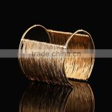 Fashion Vintage Gold Silver Wide Long Cuff Braided Wire Cuff Bangle Bracelets For Women Party Accessories