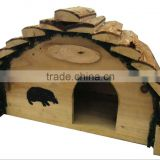 miniature wood crafts houses/Bark Roof Solid Wooden Hedgehog House