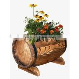 Wooden Whiskey Barrel Flower Planter