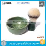 Glazed Ceramic Round Wave Bottom Shave Bowl Without Handle