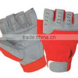 Silver color weight lifting gloves with strap