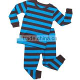 China Supplier Custom Wholesale Big Boys Pajama Set 100% Cotton Soft Casual Stripe Sleepwear outfit