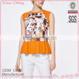 Promotional Top Quality knitted wear popular printed ruffle hem model women's simple blouse with sleevless