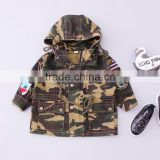 TC16018 Latest fashion army green kids coat high quality kids baby denim jacket with hood