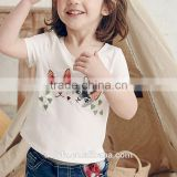 latest design kids clothing t shirts short sleeve cat printing embroidered round neck t shirts for children's wear