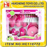 Shantou factory hot sale pink tea pot and cutlery set play toy for kids