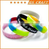 Custom Made fluorescent Silicone Bracelet with printing in Any Color
