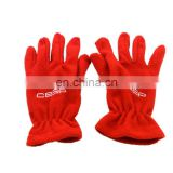 custom 100% polyester red embroidery soft fleece gloves