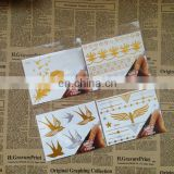 Wholesale fashion new tatoo metal silver golden body gold foil temporary tattoos sticker for adults