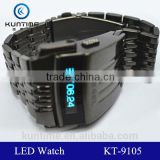 All stainless steel material quality metal lcd display watch stainless steel bracelet watch men