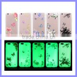 Ultra-Slim Glow In the Dark Mobile Phone Cases Luminous Plastic TPU Back Butterfly Flower Case for iPhone 6S 5 Plus
