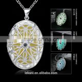 Diffuser locket Pendant Necklace with green moon stone