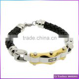 Stainless steel manufacturer black leather bracelet bangle wire cut steel part gold plated