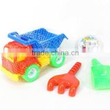 Plastic sand game, funny beach toy car, promotional toy beach set