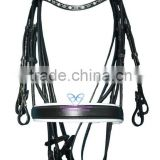Waymouth Bridle Wave Stone Browband & Swidish Wider Padded Noseband with Rolled Reins (GNG)
