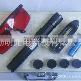 Metal aluminum 445nm 2000mw Blue Laser Pointer Torch With 5 patterns