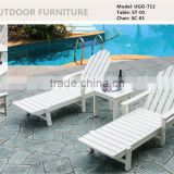 All Weather Plastic Wood Chaise Lounge, Beach Loungers, Hotel Plastic Garden Chaise Lounge