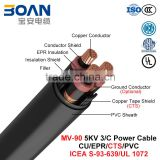 MV-90, Rubber Insulated Power Cable, 5 KV, 3/C, CU/EPR/CTS/PVC (ICEA S-93-639/NEMA WC71/UL 1072)