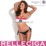 Wholesale Swimwear! RELLECIGA Stripe Pattern Push-Up Bandeau Top Sexi Hot Girl Bikini Model with Braid-Design Ties