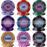 Hot sales casino quality customized professonal OEM supply 3-tone color crown Monte Carlo clay poker game chips sticker