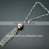 Mobile Accessories, with Acrylic Beads, Tibetan Style Bead Caps and Iron Chains, Gray, Size: about 150mm(HJEW-JM00027)