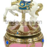Vintage beautifully sculptured merry-go-round horse musical carousel metal trinklet box <DJAA1015>