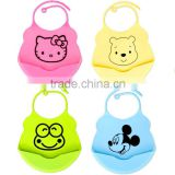 Eco-friendly cute soft touch custom made silicone baby bib for kids, FDA 3D waterproof and sift-proof silicone baby bib