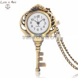 Antique jewelry gold color alloy key pendant pocket watch with chain for christmas gifts