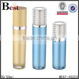 15/30ml transparent top cap lid aluminum silver pump acrylic plastic bottle double wall inside pp inner lotion cream