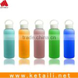 2015 the best selling colorful glass water bottle with hard insulated silicon sleeve and can be customized