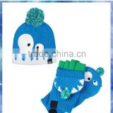 2014 hot sell monster knitted boys hat and gloves