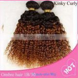 Hot Selling ,afro kinky curly Ombre color two tones T color hair extension for black women