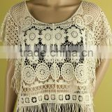 New Women's Semi Sheer Sleeve Embroidery Floral Lace Crochet T-Shirt Top Blouse