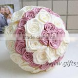 Graceful pink and white satin roses Wedding Bouquet with Beads Rhinestones Crystal