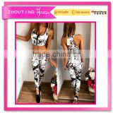 Hot style women's foreign trade New retro printed together show hilum zipper vest trouser suit