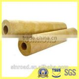 Materials Construction Water Insulated 80kg/m3 Rock Wool Pipe / Tube Fireproof Insulation