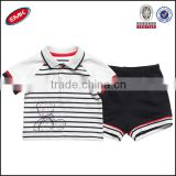 wholesale summer cute baby clothes set for baby boys striped polo t shirt and shorts