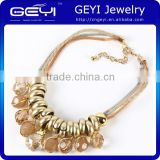 Wholesale New arrival fashion jewelry bright colors statement necklace multi plating chain sparkling beaded necklace