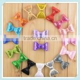 Sequin bow tie for fancy dress girls/kids neon hair bows kids hair accessory colors in stock wholesale
