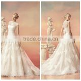 new real lace cap sleeve ball gown high collar wedding dress
