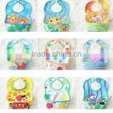 Shanghai Supplier 51 designs stocked or OEM ,hot sale brand PVC baby bibs Baby rice bib waterproof plastic bib