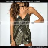 New Latest Women Sequins V Neck Short Spaghetti Strap Backless Party Jumpsuit Girls Sexy Hot Clubwear Party Romper
