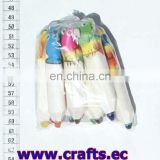 Set 10 small pencils design of coloured tropical parrot birds, handmade balsa wood products