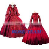 Rose Team-Free Shipping Custom-made Elegant Aristocrat Gothic Dress Red Victorian Dress Ball Gown