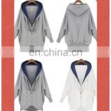 Factory OEM Apparel Women Sweatshirts Wholesale Organic Cotton Hoodie Bat Wing Sleeve 2-Layer Collar Zipper Sweatshirt