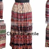 Skirt handprinted long jupe falda floral Indian gypsy kjol Hippie Boho Gypsy Tribal Batik Animals Elastic Waist Long Skirt Dress