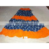 Women's Designer Handmade Cotton Printed Blue Orange Skirt girls wear long Dress party Wear